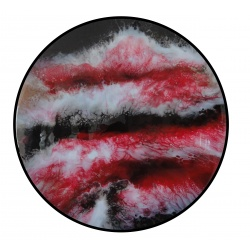 Round Epoxy Resin Flow Art Wall Decor Sculpture - Wooden Epoxy Rustic Modern Home Wall Hanging Resin Art - Red Black White Gold Mix