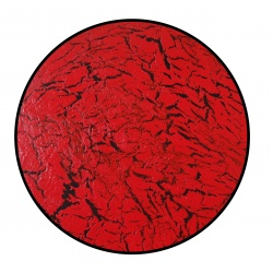Round Crackle Finish Wall Art Decor Sculpture - Home And Office Wooden Modern Home Wall Hanging Art - Red / Black
